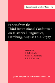 image of Papers from the Third International Conference on Historical Linguistics, Hamburg, August 22–26 1977
