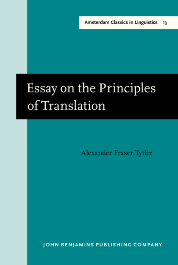 john benjamins e platform essay on the principles of translation  image of essay on the principles of translation 3rd rev ed 1813